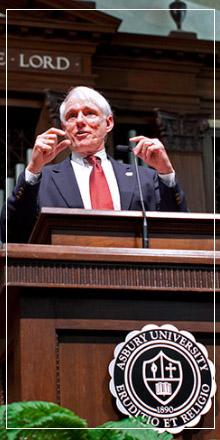 Howard Dayton speaking in chapel