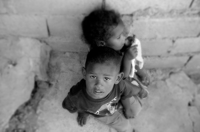 two children in poverty