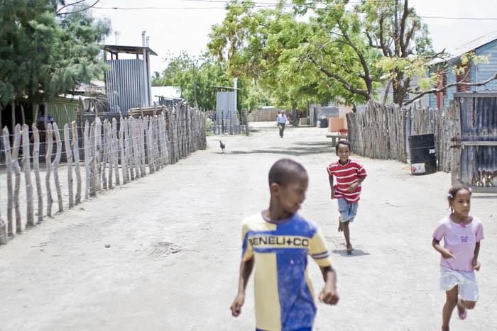 children running in the street