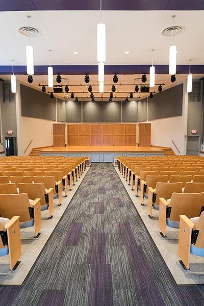 Looking down the aisle toward the stage in Jameson Recital Hall
