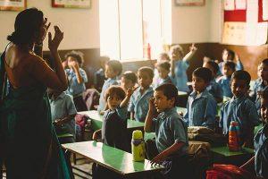 Indian children in an elementary school classroom