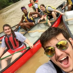 High school students in canoes
