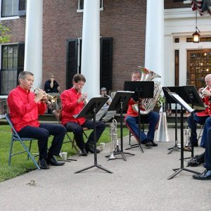 brass musicians playing in an ensemble