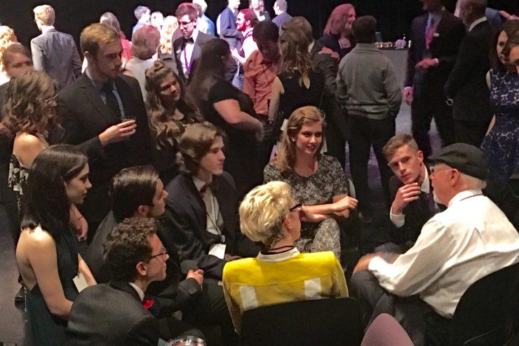 theatre students talking with Jon Menick