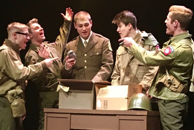 students in a play as WWII soldiers