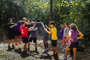 new students at the challenge course