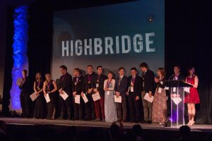 students on stage at Highbridge Film Festival
