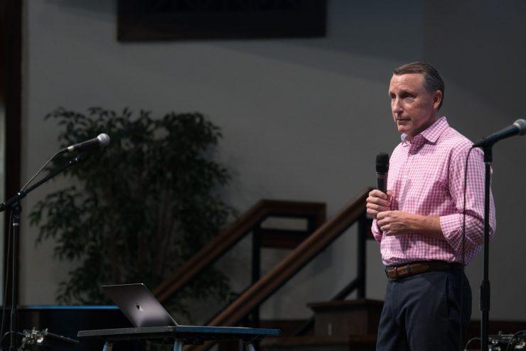 Mark Whitworth speaking in chapel