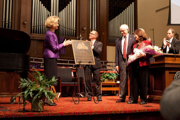 Presentation of Howard Dayton plaque at dedication ceremony
