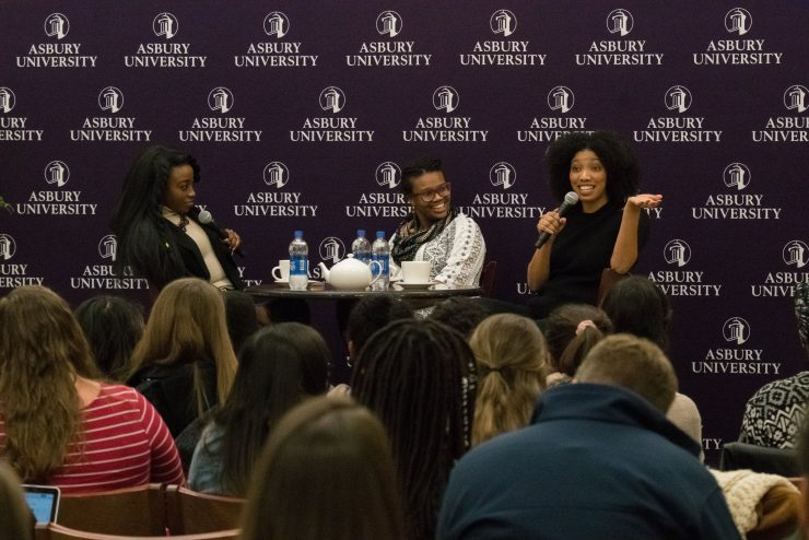 panel of speakers in the Student Center