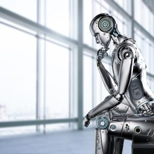 robot in a human thinking pose