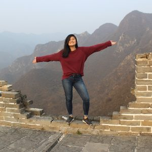 student standing on the Great Wall of China