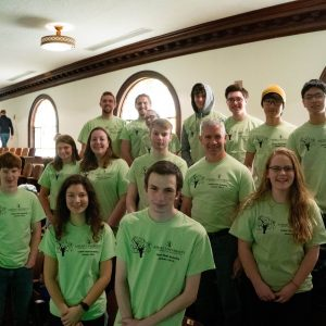 group photo of students wearing Math Modeling t-shirts