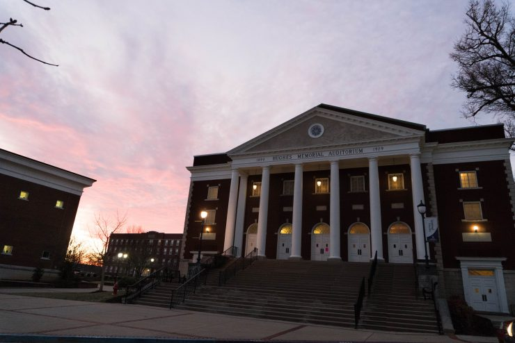 Hughes Auditorium at sunset