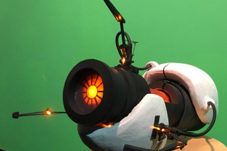 glowing prop portal gun from a production design class