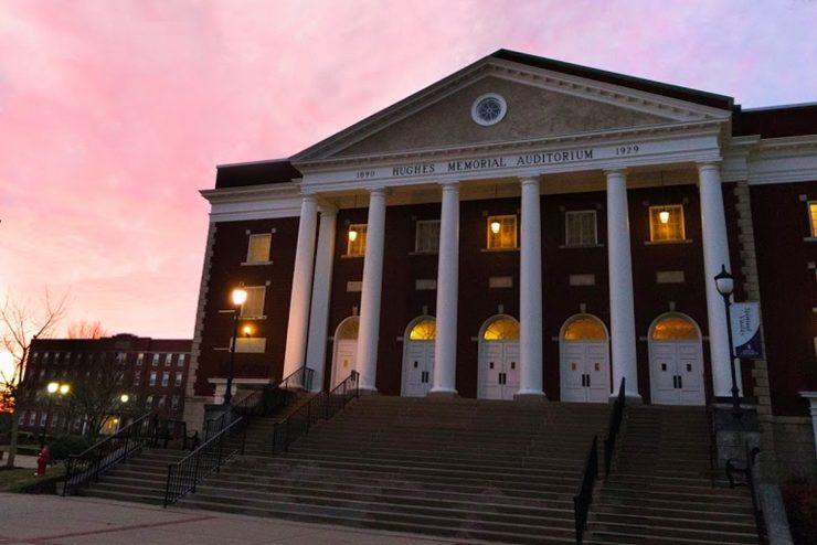 Hughes Auditorium at sunset