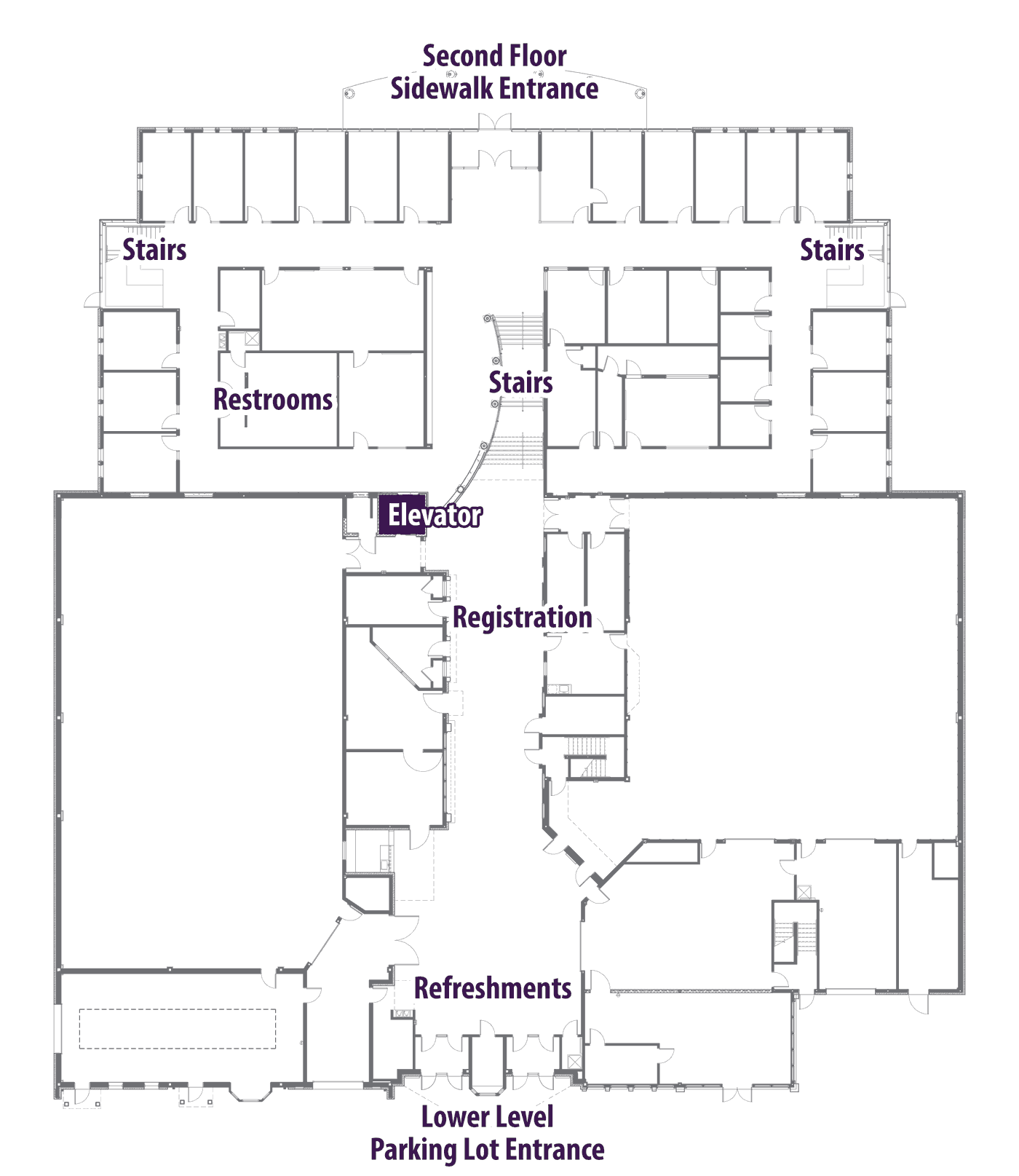 Map of lower level and first floor of Miller Center for Communication Arts