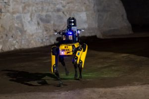 quadruped robot walking in cave