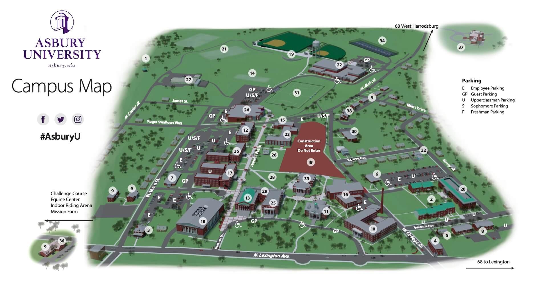 Asbury University Campus Map